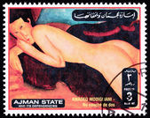 Canceled Ajman Postage Stamp Painting Amadeo Modigliani Reclinin — Stock Photo