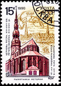 Soviet Russia Postage Stamp St. Peter's Church, Riga, Latvia — Stock Photo