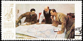 Soviet Russia Postage Stamp Lenin Planning Battle Strategy Map — Stock Photo