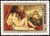 Soviet Russia Postage Stamp Painting Danaë Titian Woman Nude — Stock Photo