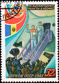 Soviet Postage Stamp Cosmonauts Exit Airplane Press Conference — Stock Photo