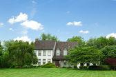 Suburban Single Family House Home Lawn Trees Tudor — Stock Photo