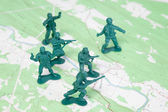 Plastic Army Men Fighting Battle Topographic Map — Stock Photo