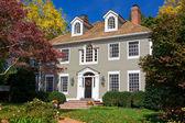 Suburban Single Family House Home Colonial Autumn — Stock Photo
