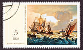 Stamp Painting Ludolf Backhuysen Bakhuizen Boats Rough Seas — Stock Photo