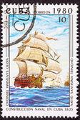 Canceled Cuba Postage Stamp Santísima Trinidad Ship of the Line — Stockfoto