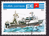Cuba Postage Stamp Tuna Boat Stern View Trawler — Stock Photo
