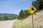 Falling Rock Sign Along Country Road Valles Caldera, New Mexico — Stock Photo