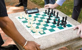 Two Players Play Timed Chess Game in a Park — Stock Photo
