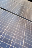 Diminishing Rows Blue Photovoltaic Solar Panels — Stock Photo