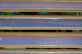 Row of Dusty Louvered Solar Panels — Stock Photo
