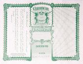 Back Side Reverse Old U.S. Paper Stock Certificate — Stock Photo