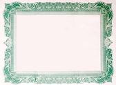 Old Vintage Stock Certificate Empty Border Frame — Stock Photo