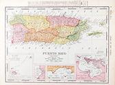 Antique Vintage Color Map of Puerto Rico — Stock Photo
