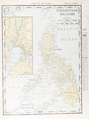 Antique Vintage Color Map of Philippine Islands — Stock Photo