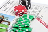 Bet the House Poker Chips Foreclosed Mortgage — Stock Photo
