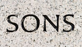 "Word ""Sons"" Carved in Gray Granite Stone — Stock fotografie"