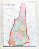 Antique Vintage Color Map of New Hampshire, USA — Stock Photo