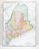 Antiquariato mappa colore vintage del maine, unisce gli stati — Foto Stock