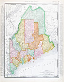 Antique Vintage Color Map of Maine, Unites States — Zdjęcie stockowe