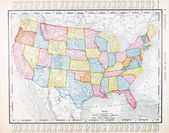 Antique Vintage Map United States America, USA — Stock Photo