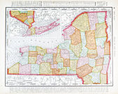 Antique Vintage Color Map of New York State, USA — Stock Photo