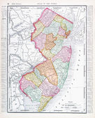 Antique Color Map New Jersey, United States, USA — Stock Photo