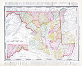 Antique Vintage Color Map Maryland Delaware, USA — Stock Photo