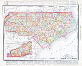 Antique Map North Carolina, NC, United States, USA — Stock Photo