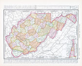 Antique Map of West Virginia, WV United Sates, USA — Stock Photo