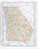 Antique Color Map of Georgia, GA United States USA — Stockfoto