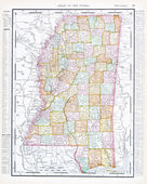 Antique Map of Mississippi, MS, United States, USA — Stock Photo