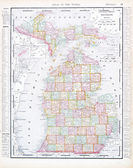 Antique Map of Michigan, MI, United States, USA — Stock Photo