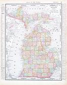 Antique Map of Michigan, MI, United States, USA — Stock Photo