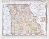 Antique Color Map Missouri, MO, United States, USA — Stock Photo
