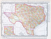 Antique Map of Texas, TX United States, USA — Stock Photo