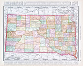 Antique Vintage Color Map of South Dekota, SD, USA — Stock Photo