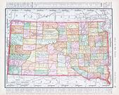Carte de couleur vintage antique du sud dekota, sd, états-unis — Photo