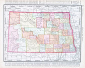 Antique Vintage Color Map of North Dakota, USA — Stock Photo