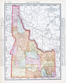 Antique Vintage Color Map of Idaho, USA — Stock Photo