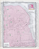 Antique Street Map San Francisco California USA — Stock Photo