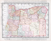 Antique Vintage Color Map of Oregon, USA — Stock Photo