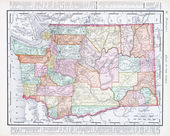Antique Vintage Color Map of Washington State, USA — Stock Photo