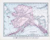 Antique Vintage Color Map of Alaska, USA — Stock Photo