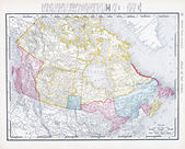 Antique Vintage Color Map of Canada — Stock Photo