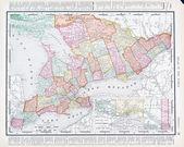 Antieke vintage kleur kaart provincie ontario, canada — Stockfoto