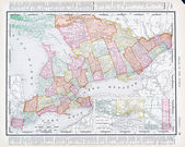 Antique Vintage Color Map Ontario Province, Canada — Foto Stock