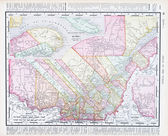 Antique Vintage Color Map Quebec Province, Canada — Stock Photo