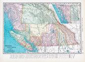 Antique Vintage Color Map British Columbia, Canada — Stock Photo