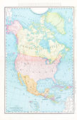 Antique Color Map North America Canada Mexico, USA — Stok fotoğraf